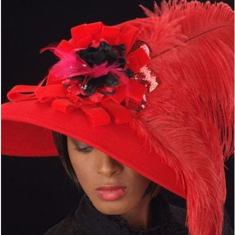 FW1119-Red felt dress hat with red ostrich feathers and flower