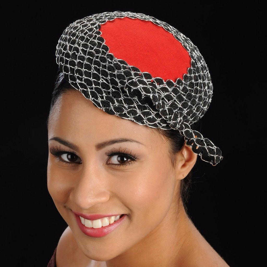 AC7023-Red top felt fascinator  with sequins trim and small bow - SHENOR COLLECTIONS