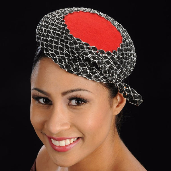 women's fascinator in red and black