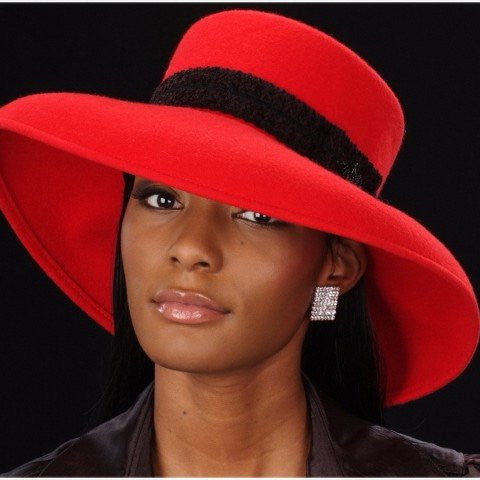 red  wool felt women's dress hats