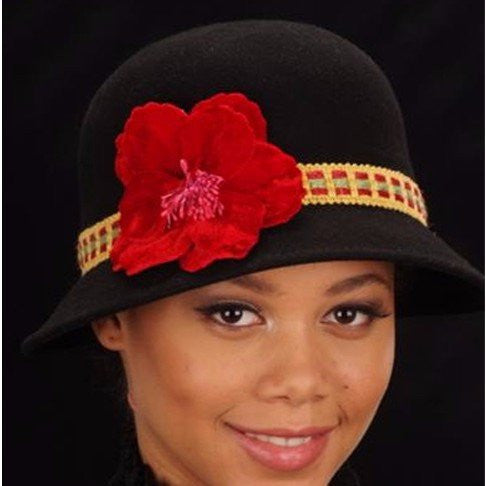 FW1118-Red velvet flower felt winter hats - SHENOR COLLECTIONS