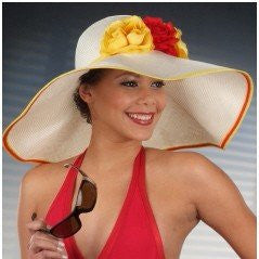 SS1004-Ladies resort beach hats with satin flowers - SHENOR COLLECTIONS