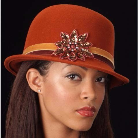 FW1120- Velvet trim rust felt dress hat - SHENOR COLLECTIONS