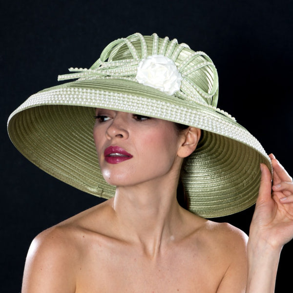 NA0046- Sage satin dress hat with pearl trims and satin flower