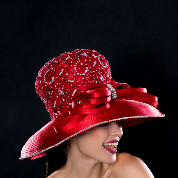 NA1072-Red satin dress hat with rhinestones