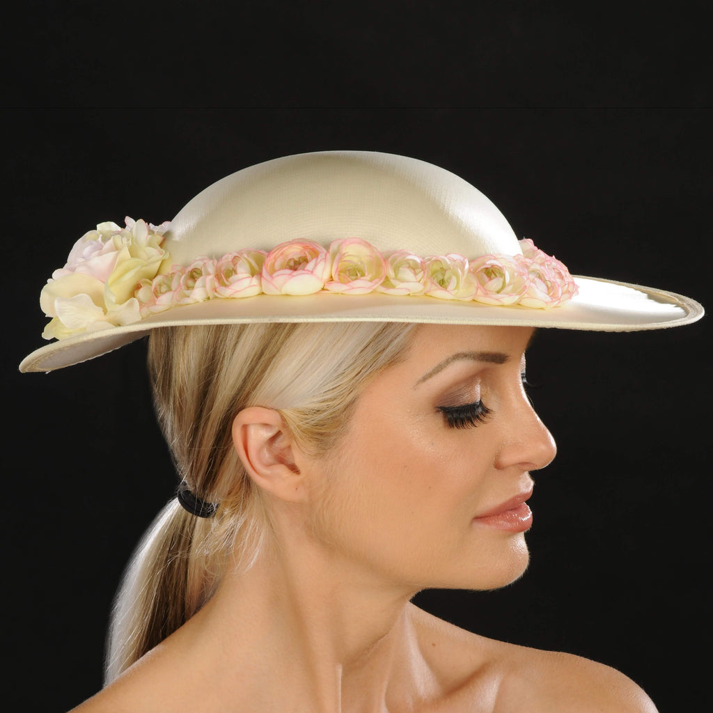 This versatile ladies dress satin hat goes with any outfit. Look and feel gorgeous in this luxuriant light yellow satin church hat that's bound to impress. Small flowers makes this classy women's hat bloom with possibilities.