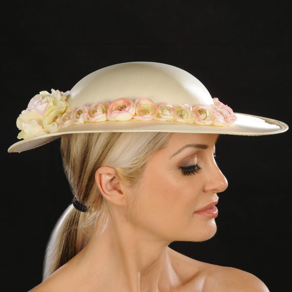 SE7014- Satin ladies hat with flowers - SHENOR COLLECTIONS