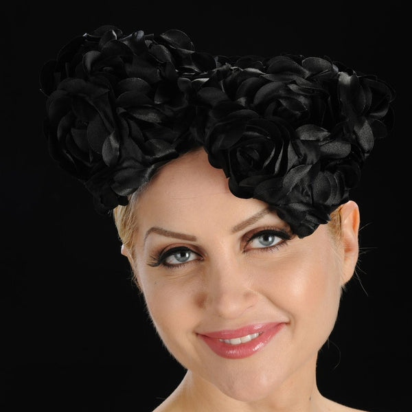 BW9007- Black fascinator for women with satin flower bow - SHENOR COLLECTIONS