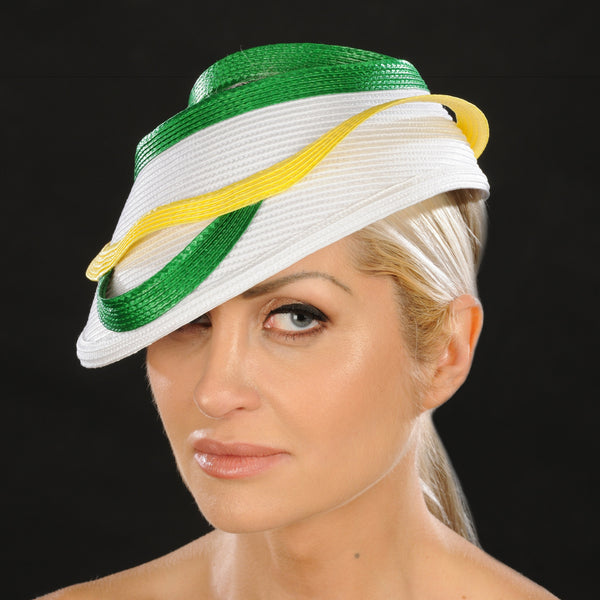 AC7036- White straw cap for women - SHENOR COLLECTIONS