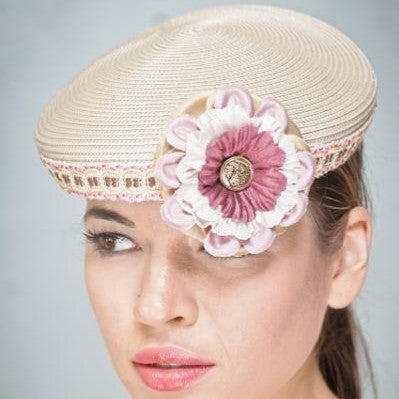 Uf3001- Ladies tan straw dress fascinator hat - SHENOR COLLECTIONS