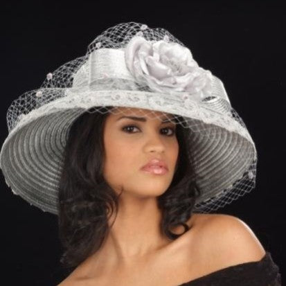 SG5020-Straw Hat Silver wide brim with silver bow and flower