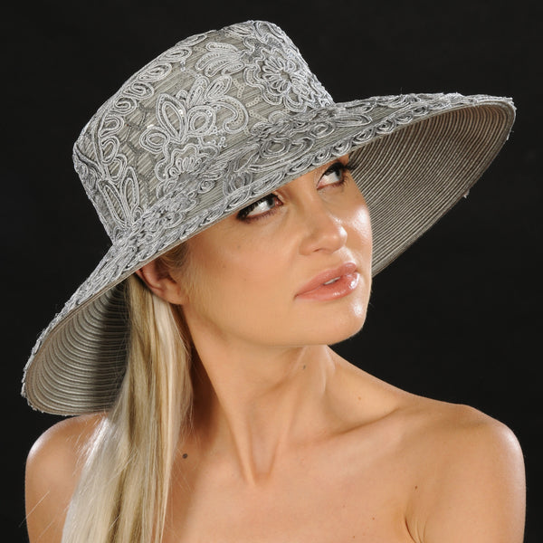 Silver wide brim ladies dress hat  Shenor Collections – SHENOR COLLECTIONS 92d36fb9db42