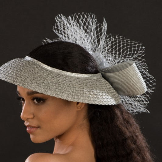 SG5023-Ladies Silver fascinator with netting and flower - SHENOR COLLECTIONS