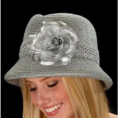 SG5009-Silver metallic with large flower - SHENOR COLLECTIONS