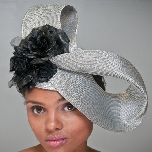 Unique sliver straw fascinator with black flowers