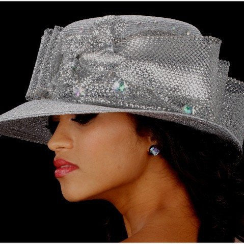 Silver church hats straw with metallic horse hair design and large rhinestones