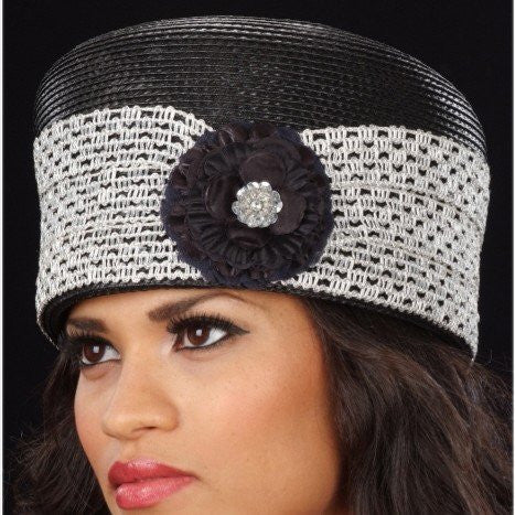 BW9004-Black pill box dress hat with silver metallic trim and small black flower
