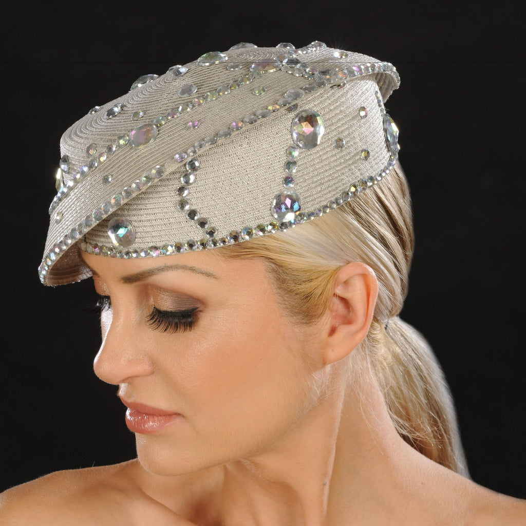 SG5022- Designer ladies rhinestone dress hat - SHENOR COLLECTIONS