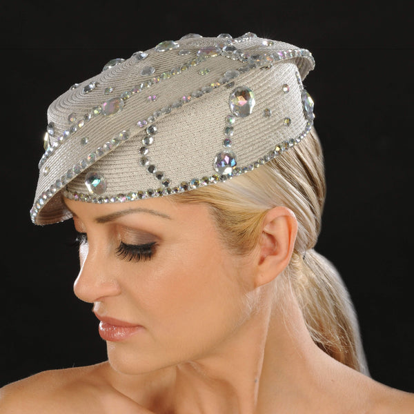 SG5022- Designer ladies rhinestone dress hat