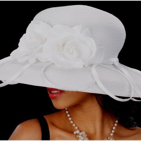 BW9016-White church hat with satin flower - SHENOR COLLECTIONS