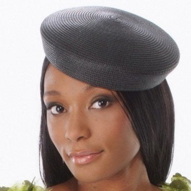 BW9891-Ladies black pill box hat - SHENOR COLLECTIONS