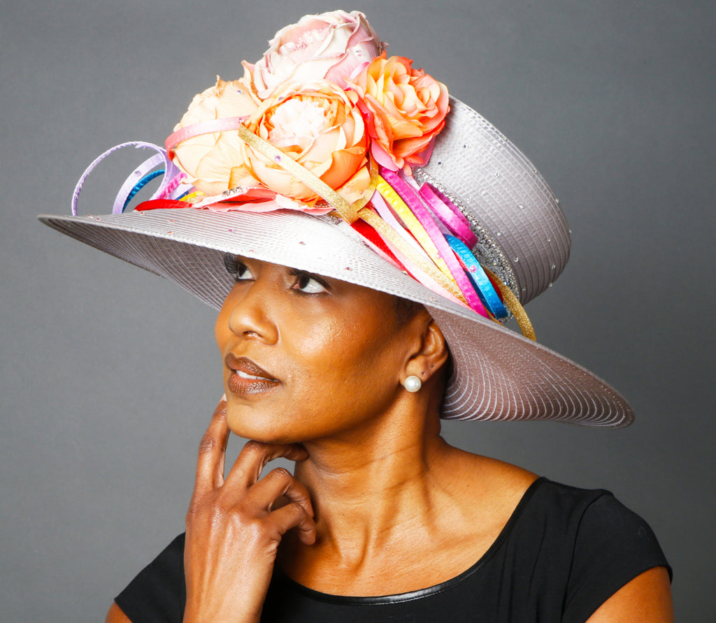 OE0026-Elegant ladies dress hats with flowers and bright satin trims