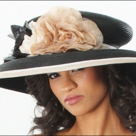 BW6675-Classy church dress hat with flowers - SHENOR COLLECTIONS