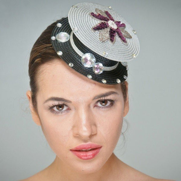 F6001-Black and silver rhinestone fascinator