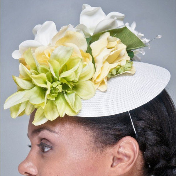 F6016-White straw fascinator with assorted flowers - SHENOR COLLECTIONS