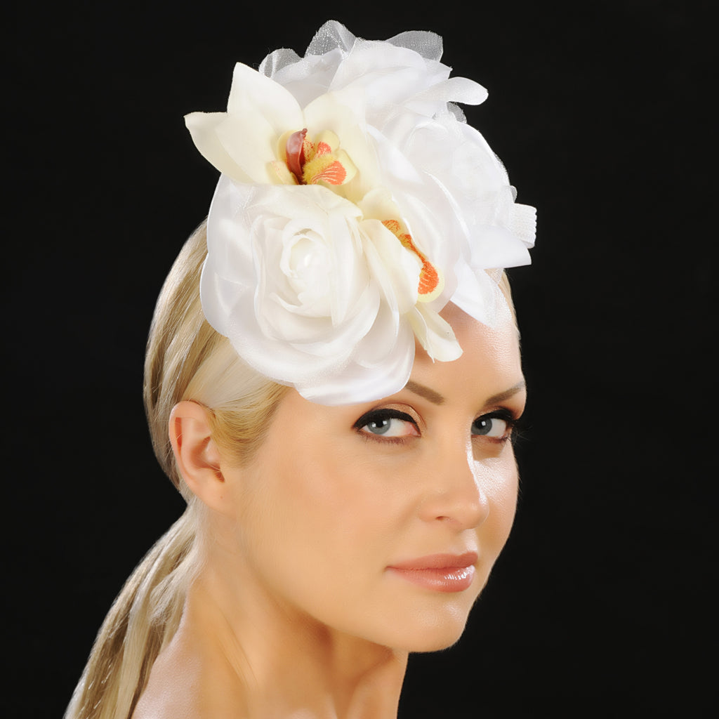 F6028- ladies satin flower fascinator - SHENOR COLLECTIONS