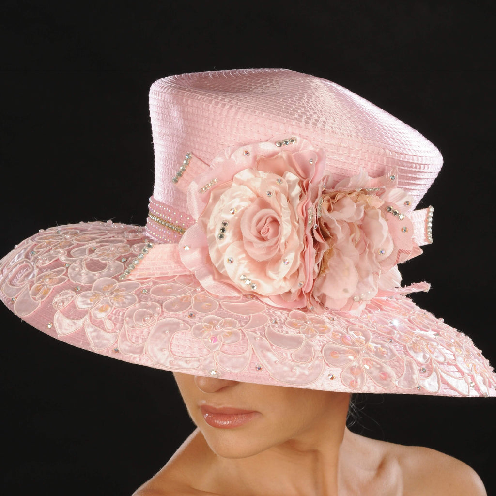 AC7033- Pink satin ladies dress hat with flowers - SHENOR COLLECTIONS