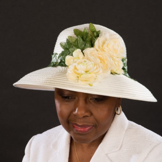 SE9970-Satin ribbon cream dress hats for women - SHENOR COLLECTIONS