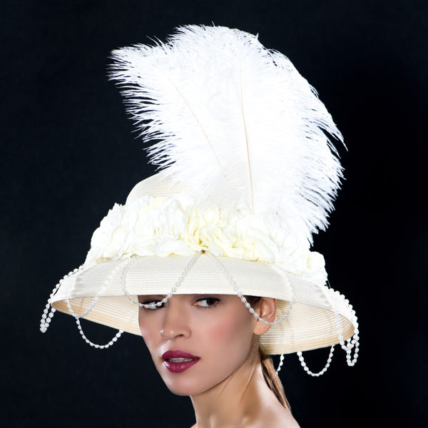 NSS6401-elegant ostrich feather ladies dress hats