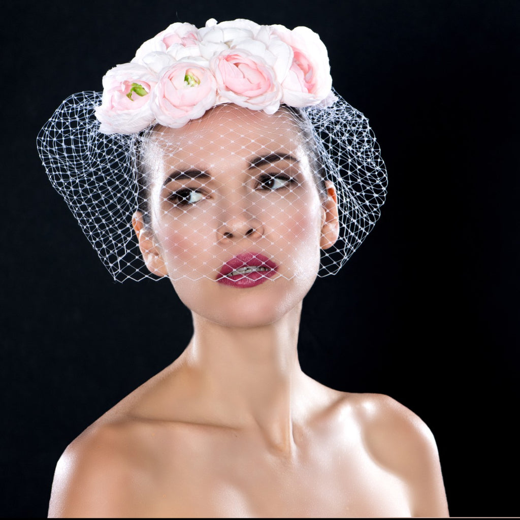 F00266- Pink and cream flower wedding fascinator