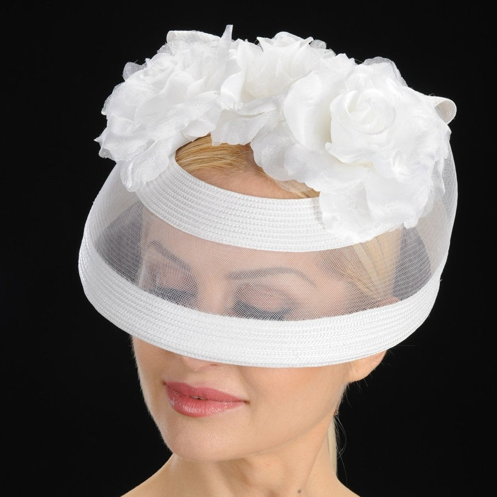 BW9014-Ladies white wedding hat with mesh and satin flower - SHENOR COLLECTIONS