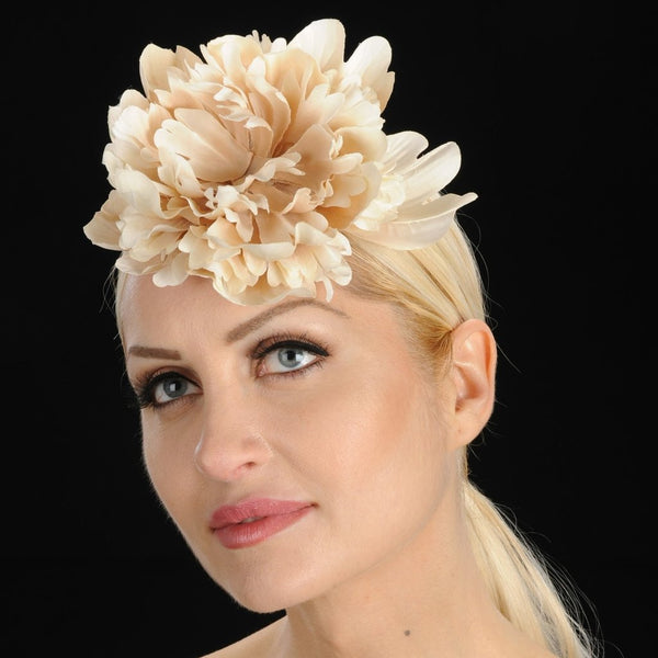 F6006-Cream wedding fascinator with satin wild flower