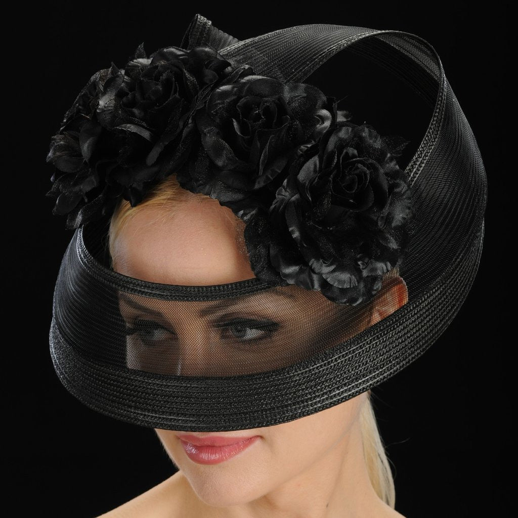 SS9003-Black fascinator mesh straw with satin flowers - SHENOR COLLECTIONS