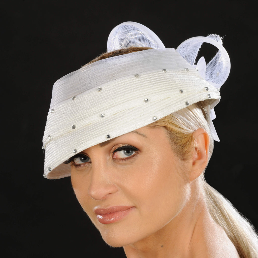 NA1050- Ladies dress hat in white - SHENOR COLLECTIONS