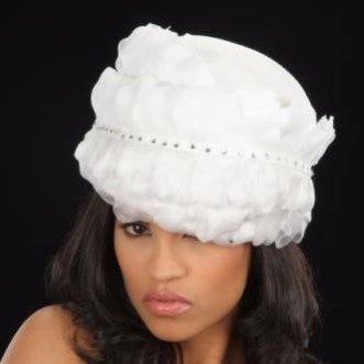 NA10657- White flower pebbles covered dress hat for women