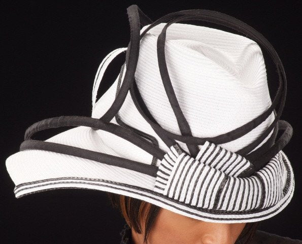 BW0768-White/black ladies straw hat