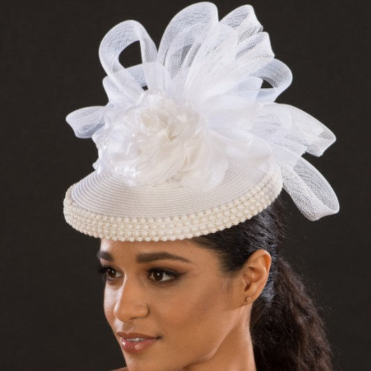 BW9035-White straw wedding facinator hats - SHENOR COLLECTIONS