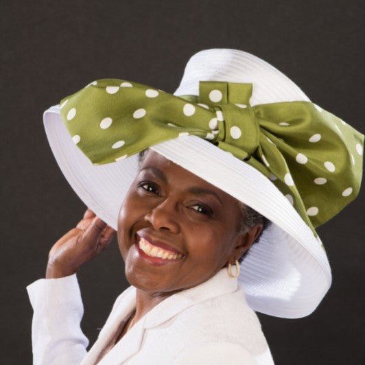 NA1064- All year round satin ribbon church hat in white with large polka dot bow - SHENOR COLLECTIONS
