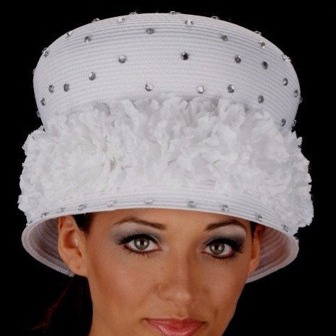 BW2872-Elegant ladies dress hat with flower trim and rhinestones