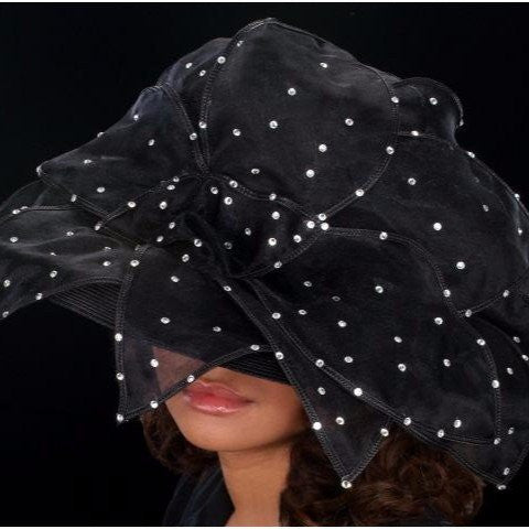BW9032- Large organza leaf dress hat for women with rhinestones