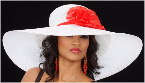 AC7028-Wide brim kentucky derby style hat with red flower and red trim