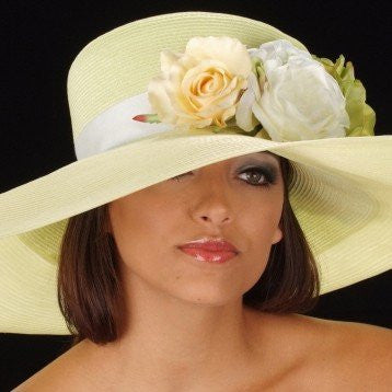 OE8005-Light yellow straw derby ladies hat with flowers - SHENOR COLLECTIONS