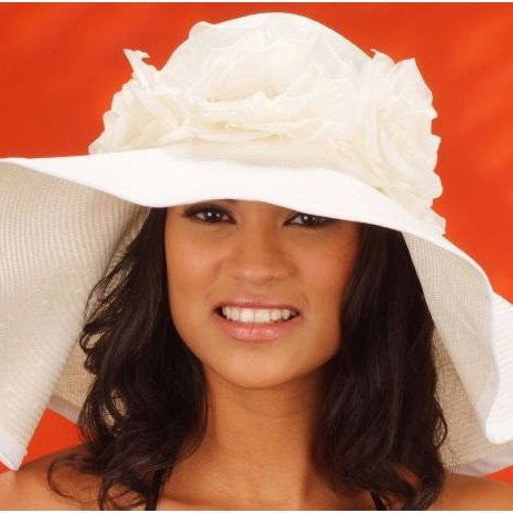 SS1001- Summer beach hat for women With 3 Large Silk Flowers - SHENOR COLLECTIONS