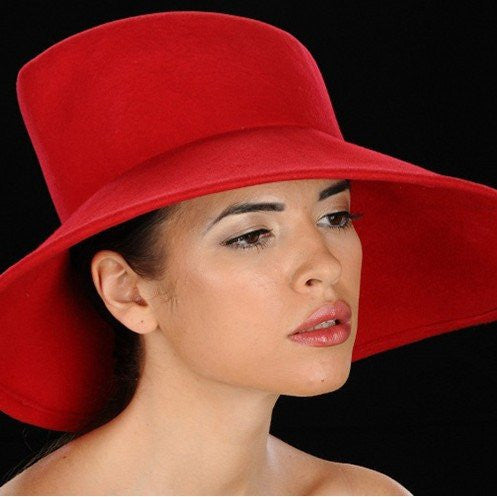 FW1117-Red felt wide brim ladies - SHENOR COLLECTIONS