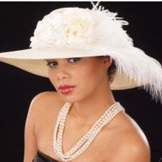 OE8002-ladies Ivory hat with flowers with ostrich feathers - SHENOR COLLECTIONS