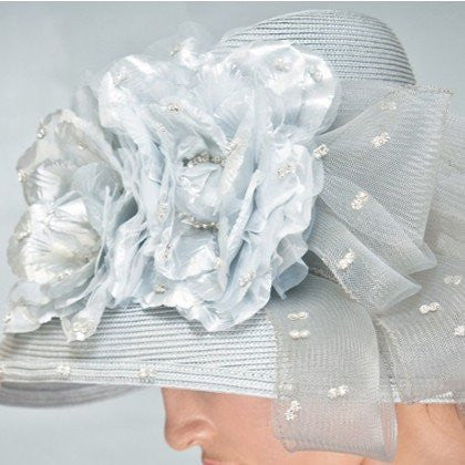 Designer silver straw church dress hat with large flowers and rhinestones
